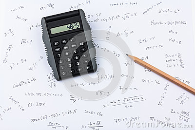 Pocket calculator, pencil and calculations