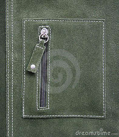Pocket on green leather texture as background