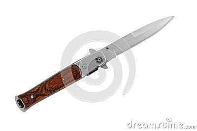 Pocket knife with wood handle