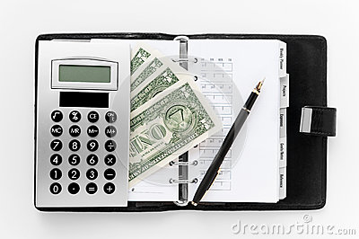 Pocket planner with pen and money