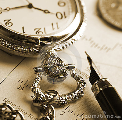 Pocket watch and fountain pen
