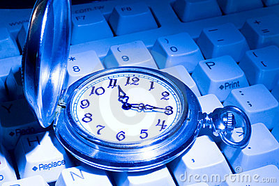 Pocket watch on the keyboard