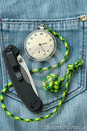 Free Pocket Watch, Knife On Jeans Stock Photography - 67492222