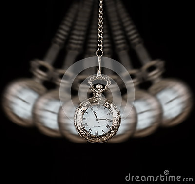 Pocket Watch Swinging On A Chain Black Background Stock ...