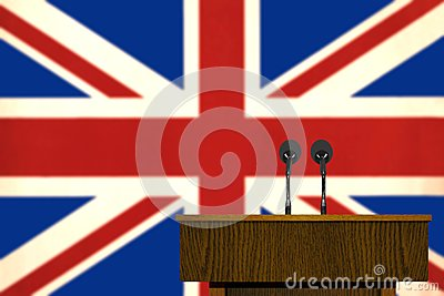 Podium and British flag