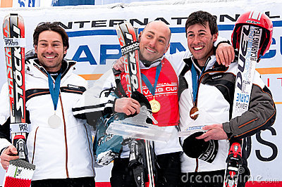 Podium of Carving World challenge 2011 Editorial Stock Photo