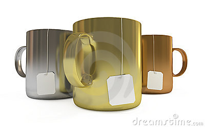 Podium of cups with tea labels, isolated