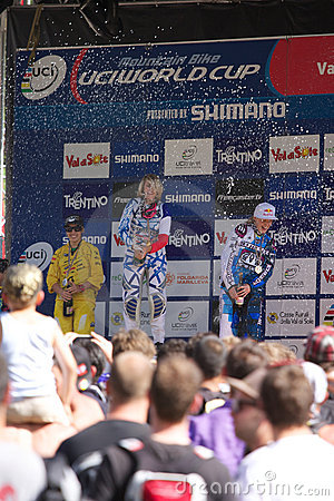 Podium final race, UCI downhill race Editorial Stock Photo