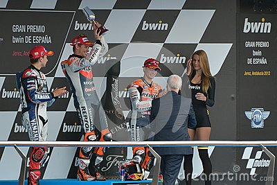 Podium of MotoGP Gran Prix oj Jerez (Spain) Editorial Stock Photo