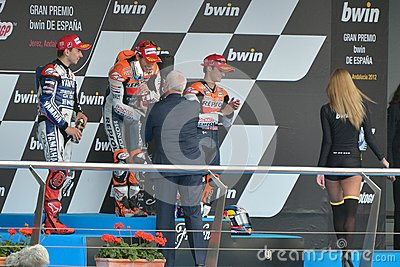 Podium of MotoGP Gran Prix oj Jerez (Spain) Editorial Stock Image