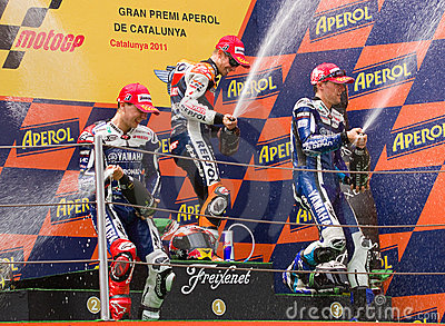 Podium of MotoGP Grand Prix of Catalonia Editorial Photo
