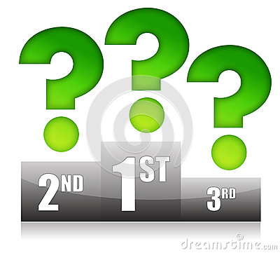 Podium with question marks illustration design