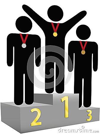 Podium van de de plaatstoekenning van winnaars eerst het tweede derde