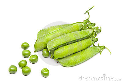 Pods of fresh green peas