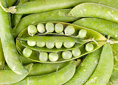 Pods of green peas