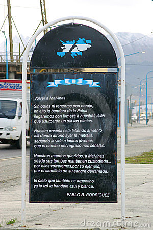 Poem to Islas Malvinas in Ushuaia Editorial Stock Image