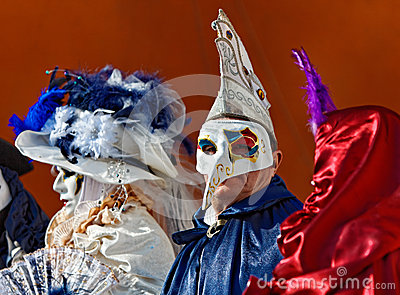Poeple in Venetian Masks Editorial Photography
