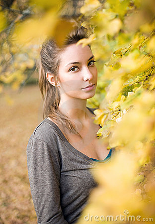 Poetic portrait of beautiful young brunette.