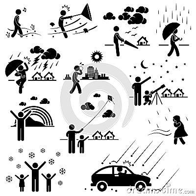 Pogodowi klimat atmosfery środowiska piktogramy