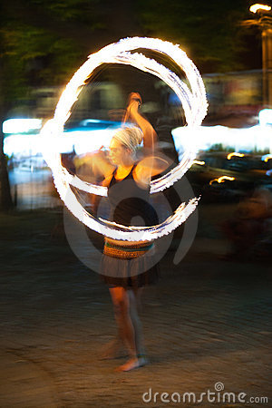 Poi fire show Editorial Stock Photo