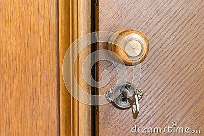 poign e et cl de porte en bois dans un trou de la serrure images stock image 32701864. Black Bedroom Furniture Sets. Home Design Ideas