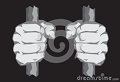 Poings énervés sur des bars de prison