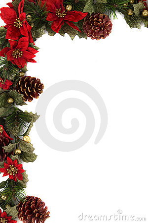 Free Poinsettia And Christmas Decoration Border Royalty Free Stock Images - 11727689