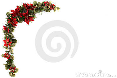 Poinsettia and Christmas decoration border