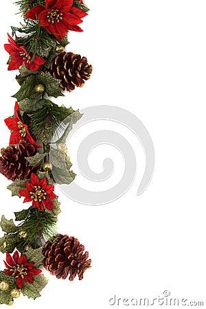 Poinsettia and christmas decoration border