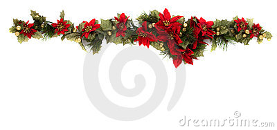 Poinsettia and Christmas decoration side border
