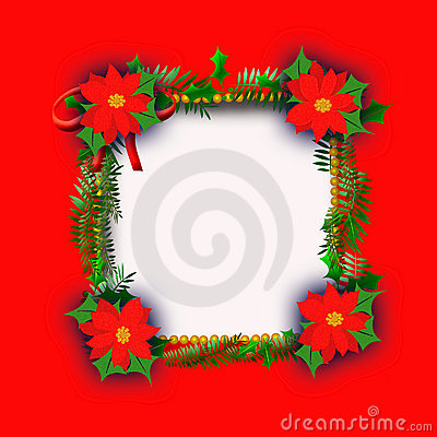 Poinsettia Christmas frame