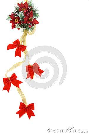 Poinsettia-Weihnachtsdekoration mit Goldfarbband