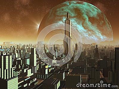 Point du jour au-dessus de la métropole étrangère