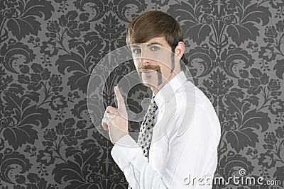 Point finger retro businessman salesperson