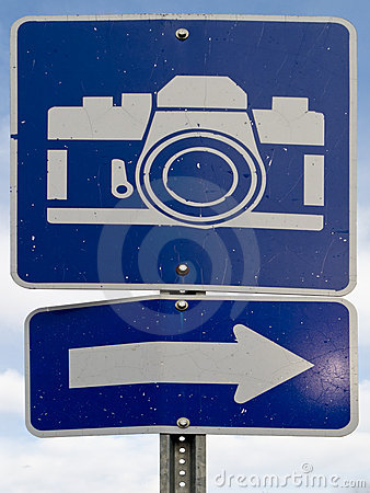 Point of interest road sign with white camera icon