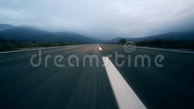 Point of View: car driving on the road. stock footage