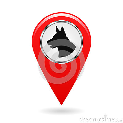 Pointer on the map. Location on the ground protected by dogs. The sign with the silhouette of a dog s head. Isolated object. Cartoon Illustration