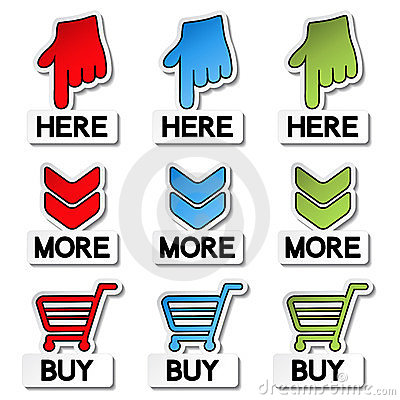 Pointer stickers - here, more, buy