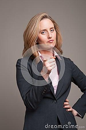 Pointing businesswoman
