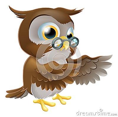 Pointing Cute Cartoon Owl
