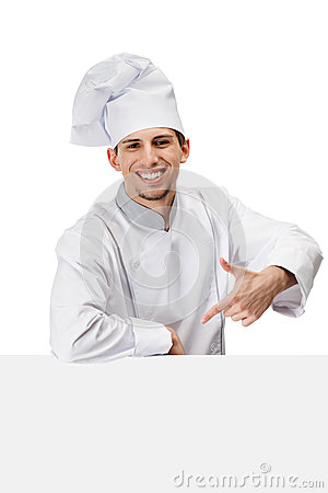 Pointing with forefinger chef cook
