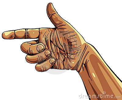 Pointing hand.