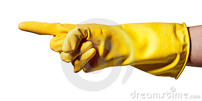 Pointing hand wearing rubber glove