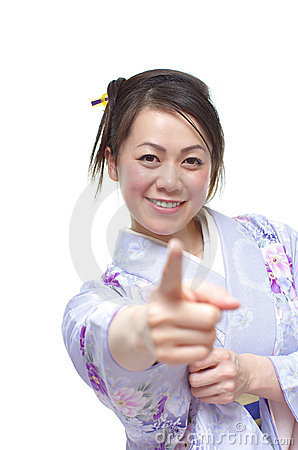 Pointing Japanese Woman