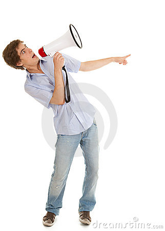 Pointing, screaming man holding megaphone