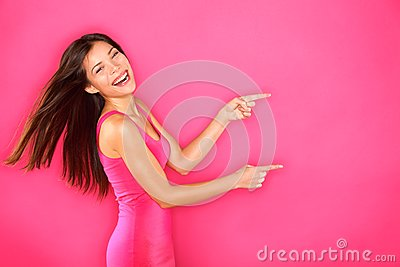 Pointing showing woman excited