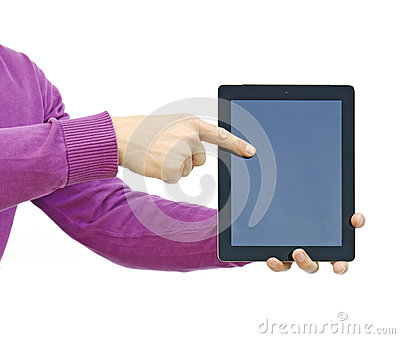 pointing to an ipad