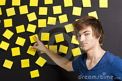 Pointing to a yellow note