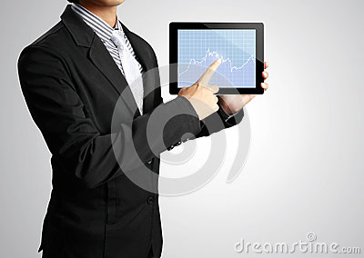 Pointing on touch screen tablet in hand