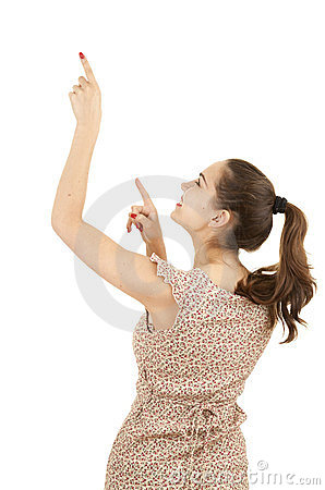 Pointing up casual young woman